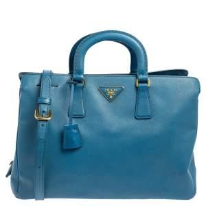 Prada Cobalt Saffiano Lux Leather Middle Zip Tote