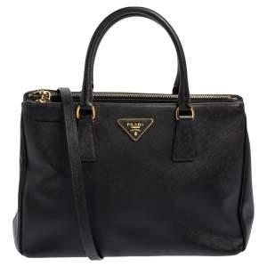 حقيبة يد براد غالريا متوسطة جلد لوكس سافيانو أسود