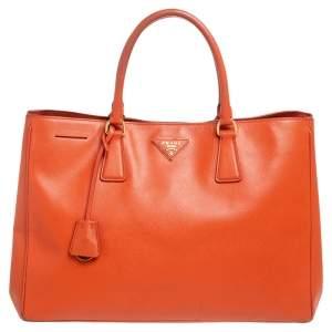 Prada Orange Saffiano Lux Leather Large Galleria Tote