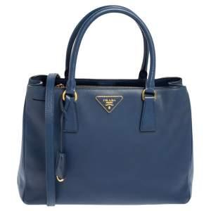 Prada Navy Blue Saffiano Lux Leather Medium Middle Zip Tote