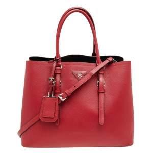 Prada Red Saffiano Cuir Leather Medium Double Handle Tote
