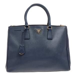 حقيبة يد برادا غلريا متوسطة جلد لوكس سافيانو أزرق داكن