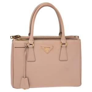 حقيبة يد برادا سحاب مزدوج صغيرة جلد لوكس سافيانو بيج