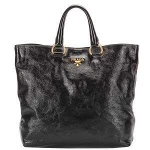Prada Black Calf Leather Vitello Daino Tote Bag