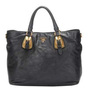 Prada Black Calf Leather Hunt Tote Bag