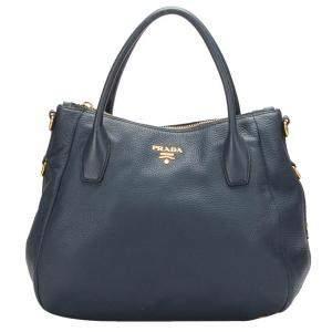 Prada Blue Leather Vitello Daino Shoulder Bag