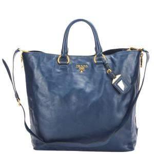 Prada Blue Calf Leather Vitello Daino Shine Tote Bag