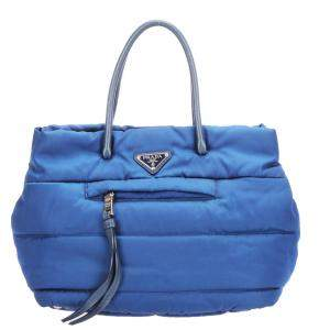 Prada Blue Nylon Tessuto Bomber Tote Bag
