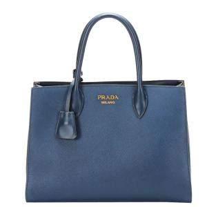 Prada Blue Saffiano Leather Double Cuir Satchel Bag