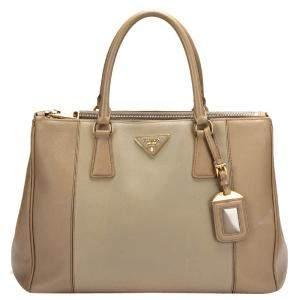 Prada Bicolor Saffiano Leather Double Zip Galleria Tote Bag