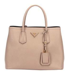 Prada Beige Leather Double Cuir Satchel Bag