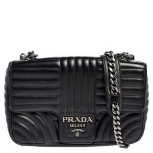 Prada Black Diagramme Leather Medium Shoulder Bag