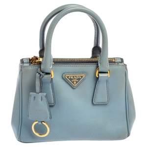 حقيبة يد توتس برادا غاليريا ميني جلد سافيانو أزرق فاتح