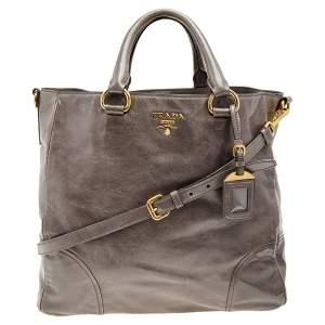 Prada Grey Vitello Shine Leather Top Handle Bag