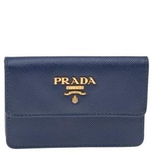 Prada Blue Saffiano Lux Leather Flap Card Holder
