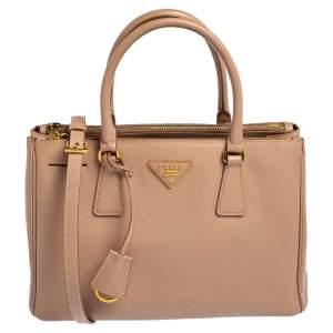 Prada Dusty Pink Saffiano Lux Leather Small Galleria Tote