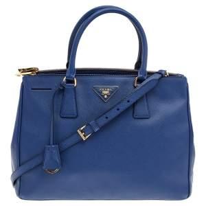 Prada Navy Blue Saffiano Lux Leather Double Zip Galleria Tote