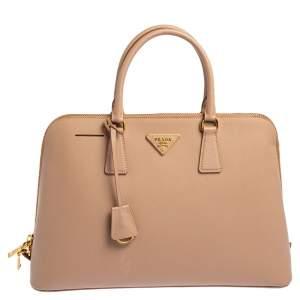 Prada Beige Saffiano Lux Leather Promenade Bag