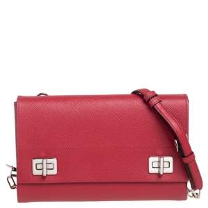 Prada Red Saffiano Cuir Leather Small Double Turnlock Shoulder Bag