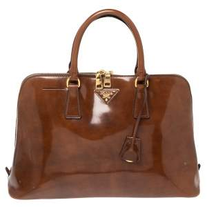 Prada Brown Patent Leather Promenade Satchel