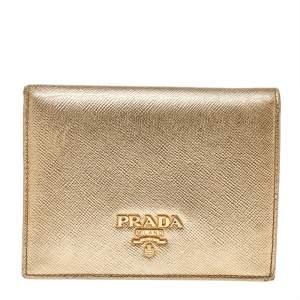 Prada Metallic Gold Saffiano Leather Flap Compact Wallet