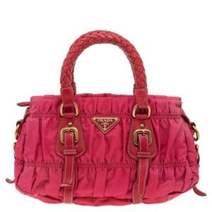 Prada Pink Gaufre Nylon and Leather Tote