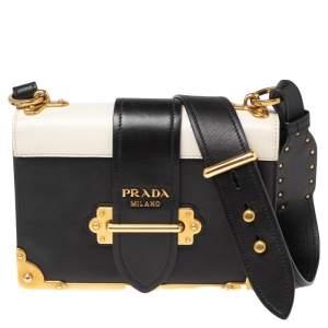 Prada Black/White Saffiano Leather Cahier Shoulder Bag
