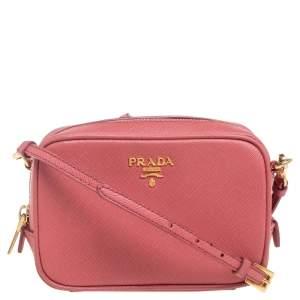 Prada Pink Saffiano Leather Camera Crossbody Bag