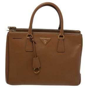 Prada Brown Saffiano Leather Medium Double Zip Tote