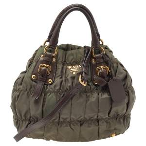 Prada Olive Green/Brown Quilted Nylon And Leather Tote