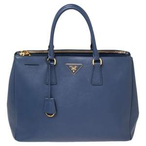 Prada Blue Saffiano Leather Large Galleria Double Zip Tote