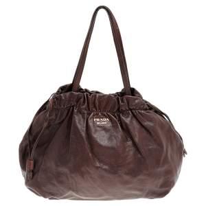Prada Brown Leather Drawstring Shopper Tote