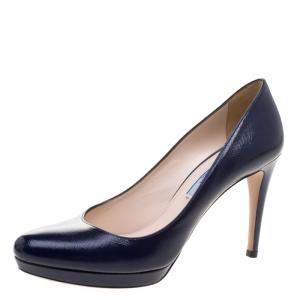 Prada Blue Saffiano Leather Platform Pumps Size 37.5
