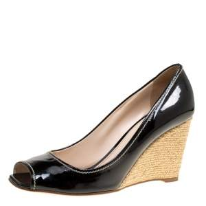 Prada Black Patent Leather Peep Toe Espadrille Wedge Pumps Size 39.5