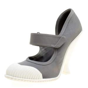 Prada Grey/White Fabric Mary Jane Pumps Size 40.5