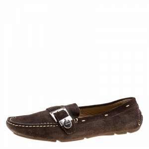 Prada Brown Suede Buckle Loafers Size 37.5