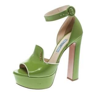 Prada Green Leather Ankle Strap Platform Sandals Size 36