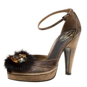 Prada Bronze Leather Crystal Embellished Ankle Strap Peep Toe Platforms Pumps Size 38