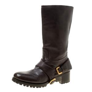 Prada Brown Leather Buckle Detail Calf Length Boots Size 37