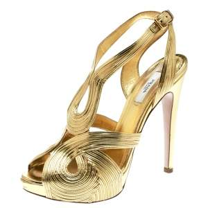 Prada Metallic Gold Leather Peep Toe Ankle Strap Platform Sandals Size 38