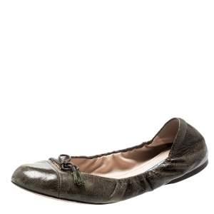 Prada Green Leather Fringe Bow Logo Scrunch Ballet Flats Size 37.5