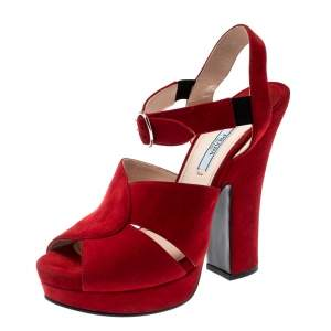 Prada Red Suede Leather Open Toe Ankle Strap Sandals Size 38