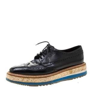 Prada Black Brogue Wingtip Leather Espadrille Derby Size 37.5