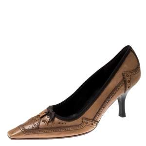Prada Brown Brogue Leather Pointed Toe Pumps Size 38