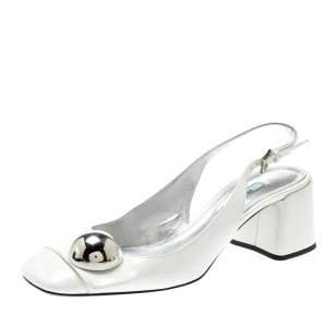 Prada White Patent Leather Metal Embellished Slingback Sandals Size 39.5