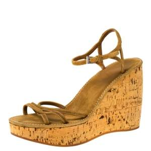 Prada Brown Criss Cross Suede Ankle Strap Cork Wedge Sandals Size 40