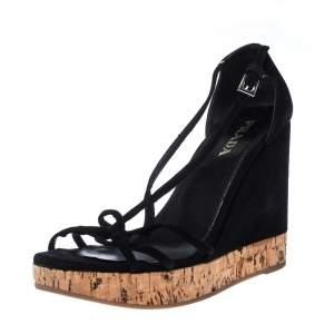 Prada Black Suede Strappy Cork Wedge Platform Sandals Size 37