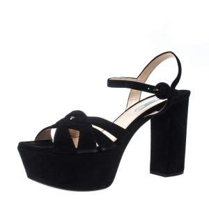 Prada Black Suede Ankle Strap Platform Block Heel Sandals Size 41