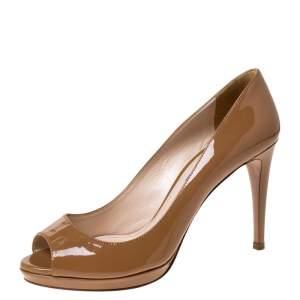 Prada Dark Beige Patent Peep Toe Platform Pumps Size 38