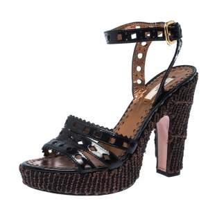 Prada Black Patent Leather Raffia Platform Ankle Strap Sandals Size 39.5